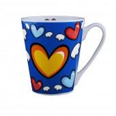"""Kaffee-/Teebecher """"Herz"""" blau 400 ml KU-200101"""