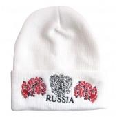 "Wintermütze weiß ""Russia"" gerb, hochloma"
