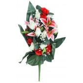 Künstlicher Blumenstrauß rot-weiß BL-18416