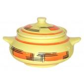 """Keramik Suppentopf """"Gelbe Abstraktion"""", 1,5 L SA-0164"""