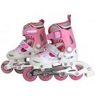 Роликовые коньки детские ABEC-7 розово-белые Размер: S