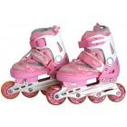 Роликовые коньки детские с LED ABEC-9 розово-белые Размер: M B750