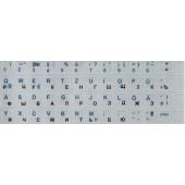 Наклейка на клавиатуру серебряный цвет (Русский + Немецкий)