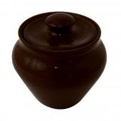 Горшочек пищевой, глиняный 0,25 л., цвет черный янтарь SB-11594