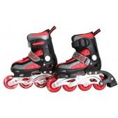 Роликовые коньки детские с LED ABEC-9 красно-черные Размер: S FIT-14765