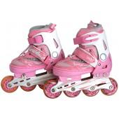 Роликовые коньки детские с LED ABEC-9 розово-белые Размер: M FIT-14825