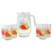 """Набор для напитков """"Розы"""" стекло 7 предметов"""