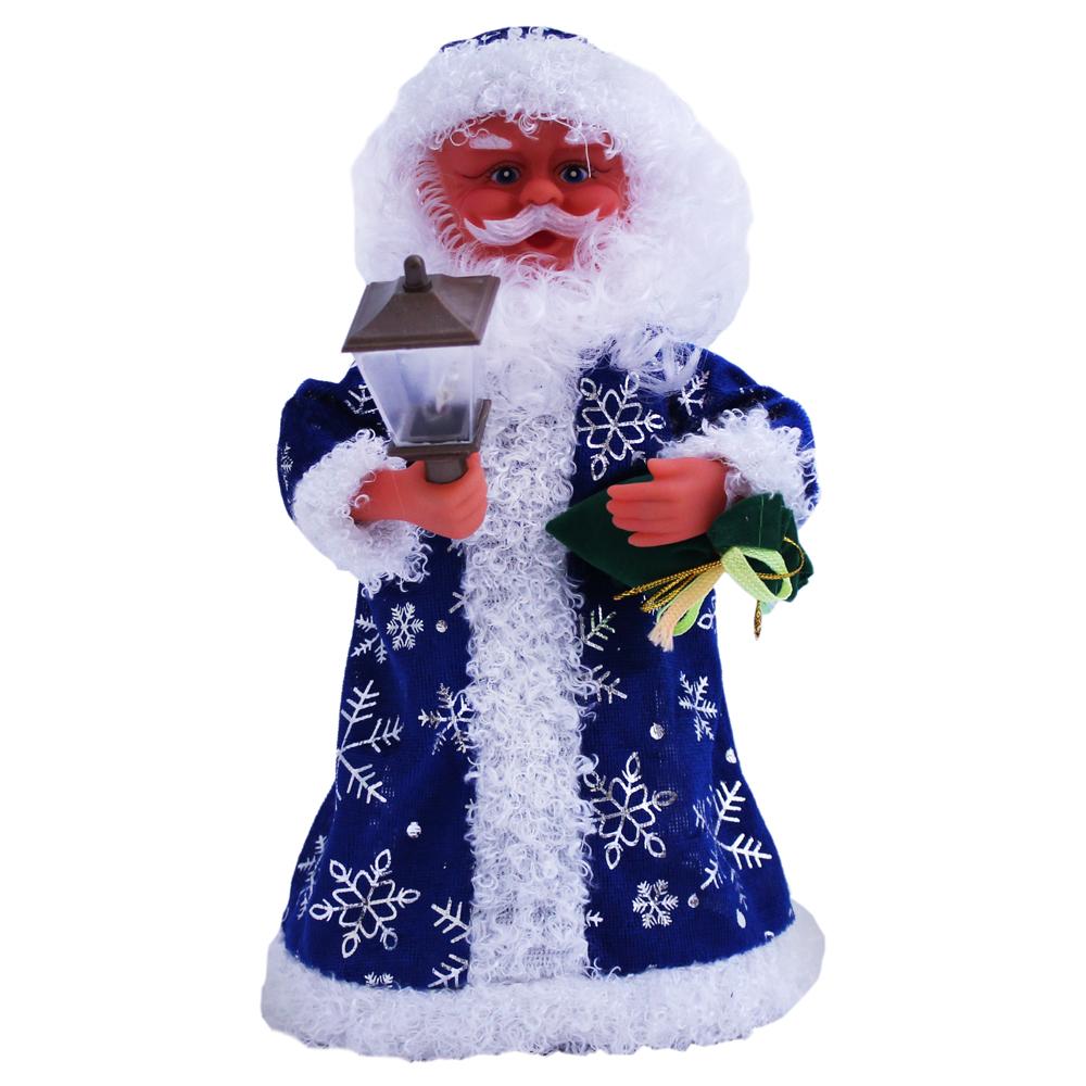 weihnachtsmann im blauen mantel mit laterne 30 cm nj 1008. Black Bedroom Furniture Sets. Home Design Ideas